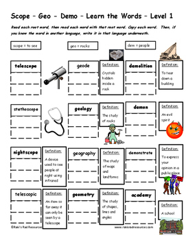 Differentiated Greek Roots Spelling & Vocab Packet - Scope, Geo and Demo