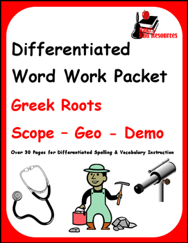 Differentiated Greek Roots Spelling & Vocab Packet - Scope