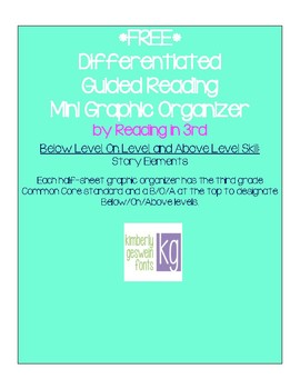 Differentiated Guided Reading Mini Organizer - Story Elements