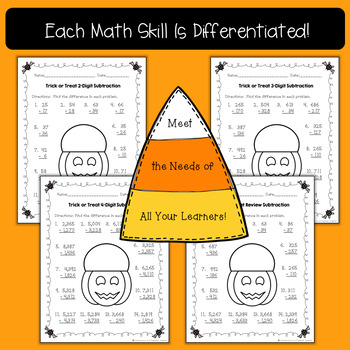 Differentiated Halloween No Prep Math Printables