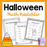 Differentiated Halloween No Prep Math Printables #worldteacherday