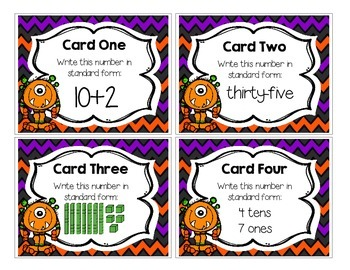 Differentiated Halloween Place Value Task Cards/Scoot Game