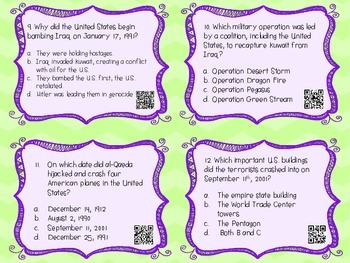 Differentiated History since 1975 Task Cards {Constructed Response}