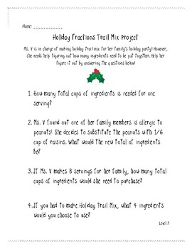 Differentiated Holiday Fractions Project