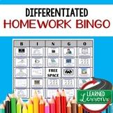 Differentiated Homework Bingo, Homework Activity, No Prep
