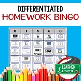 Differentiated Homework Bingo