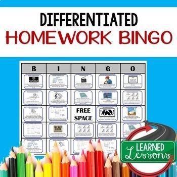 Differentiated Homework Bingo