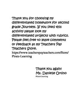 Differentiated Homework - Grade 2 Journeys: How Chipmunk Got His Stripes