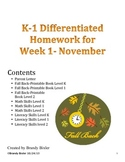 Differentiated Homework for November Week 1