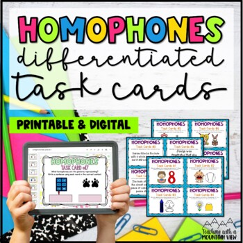 Differentiated Homophones Task Cards {Pictures & Text}