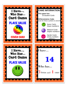 Differentiated I Have... Who Has... Place Value Card Game