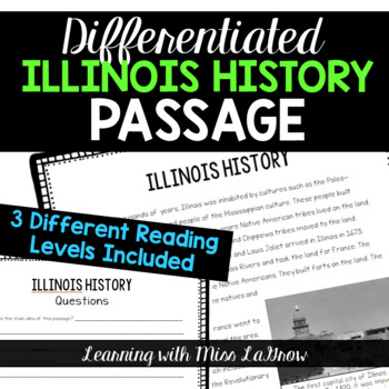 Differentiated Illinois History Comprehension Reading Passage Leveled