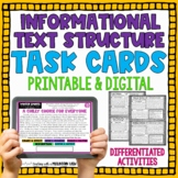 Informational Text Structures Task Cards | Distance Learning | Google Classroom