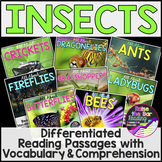 Differentiated Insects Reading Passages, Comprehension & V
