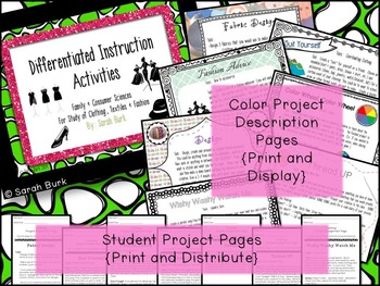 Differentiated Instruction Activities - Clothing, Textiles & Fashion