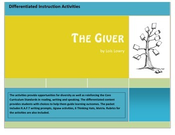 Differentiated Instruction Activities for The Giver