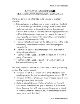 Differentiated Instruction Guidesheet (DIG) Instructions for Use