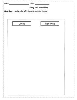 Differentiated Instruction - Living and Nonliving Tiered Worksheets