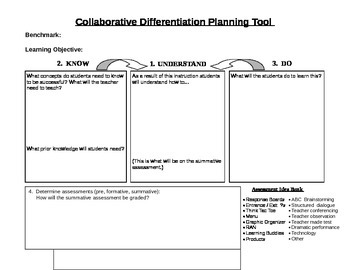 Differentiated Instruction Planning Tool