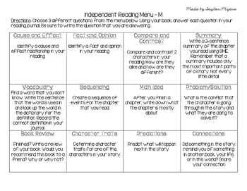 Differentiated Instruction - Reading Choice Boards for Independent Reading
