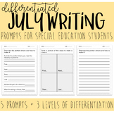 Differentiated JULY Writing Prompts