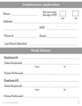 FREEBIE Differentiated Job Application Practice Forms for Special Education