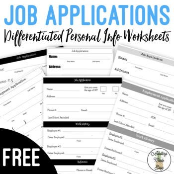 Differentiated Job Application Worksheets | TpT