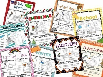 Differentiated Journals for the Year BUNDLE: Writing for Special Ed / Autism