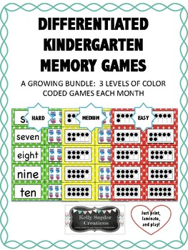 Differentiated Kindergarten Memory Games for Math Centers - GROWING BUNDLE