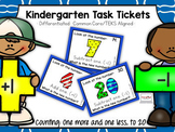 Kindergarten Task Tickets: Math: Counting One More & One Less (Differentiated)