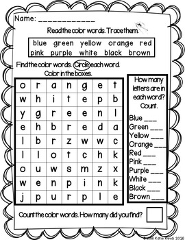 Differentiated Kindergarten Color Word Searches (Color and Black & White)