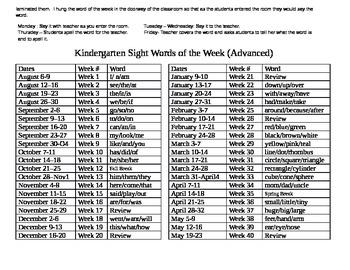 Differentiated Kindergarten Words of the Week Template
