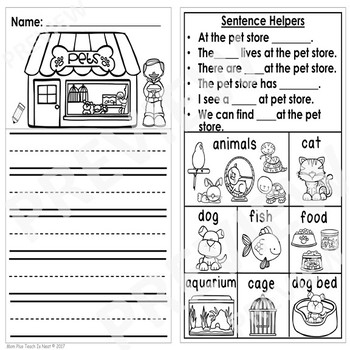 Differentiated Kindergarten Writing Prompts with Visuals & Sentence Frames-Set 2