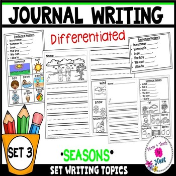 Differentiated Kindergarten Writing Prompts with Visuals & Sentence Frames-Set 3
