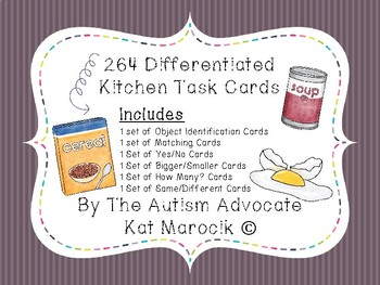 Differentiated Kitchen TEACHH Task Cards (Yes/No, Math, Object Identification)