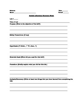 Differentiated Lab Summary Sheets