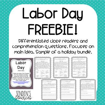 Differentiated Labor Day Close Reader FREEBIE!