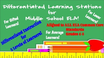 Differentiated Learning Stations for Middle School ELA!  Common Core Aligned!