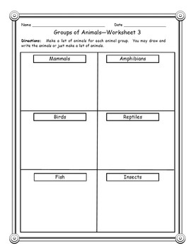 Differentiated Learning - Tiered Worksheets - Animals Groups