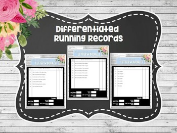 Differentiated Letter Booklets and Running Records (Unit 7, Week 2) Letter W