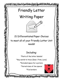 Differentiated Letter Writing Paper Choices