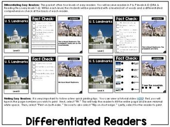 Differentiated Leveled Nonfiction Readers (Levels A-D) Set 3 Social Studies