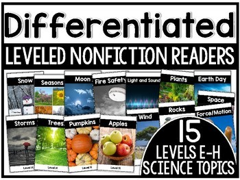 Differentiated Leveled Nonfiction Readers (Levels E-H) Set 2 Science Topics