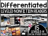 Differentiated Leveled Nonfiction Readers (Levels E-H) Set 3 Social Studies
