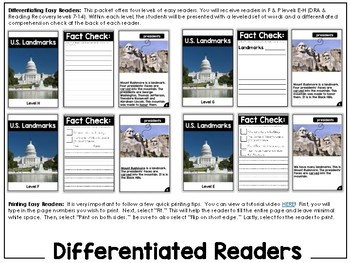 Differentiated Leveled Nonfiction Readers (Levels E-H) Set 3 Social Studies