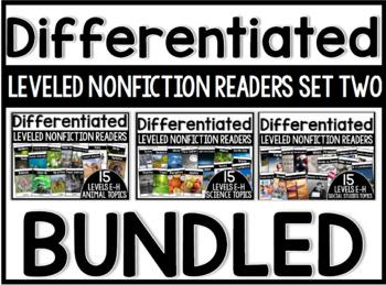 Differentiated Leveled Nonfiction Readers (Set 2 Levels E-H) GROWING BUNDLE