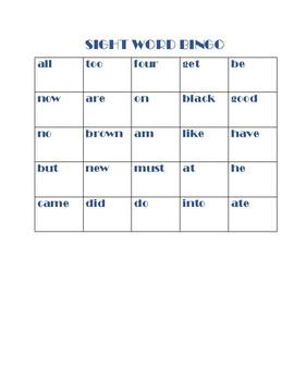 Differentiated/Leveled Site Word Bingo PK-1