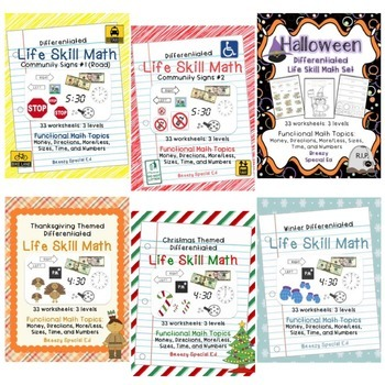 Differentiated Life Skill Math Pack BUNDLE for the YEAR {Special Ed}