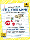 Differentiated Life Skill Math Pack: Community Signs 1 for