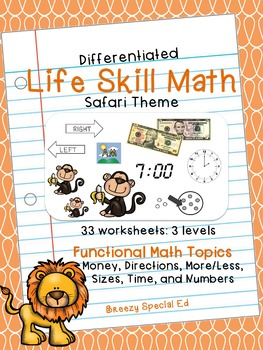 Differentiated Life Skill Math Pack: Safari (special education)